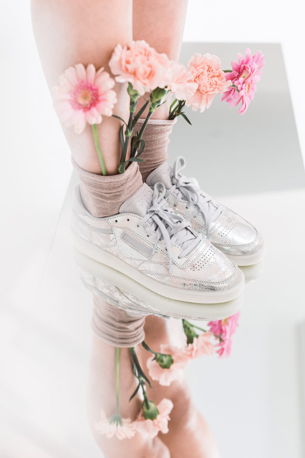 Queens x Petra Mácová — lookbook — Reebok Club C 85 Textural (Silver met, Skull grey, White) — metalické — women's metallic silver sneakers