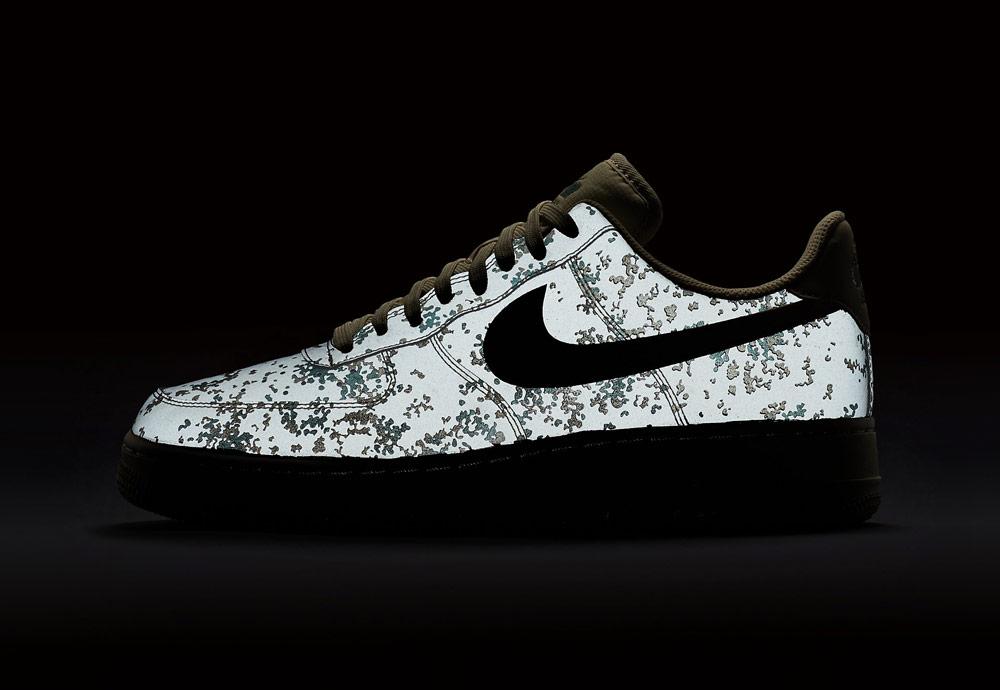 Nike Air Force 1 Low 07 LV8 Camo — maskáčové boty — tenisky — pánské — reflexní prvky — men's camo sneakers — reflective — shoes