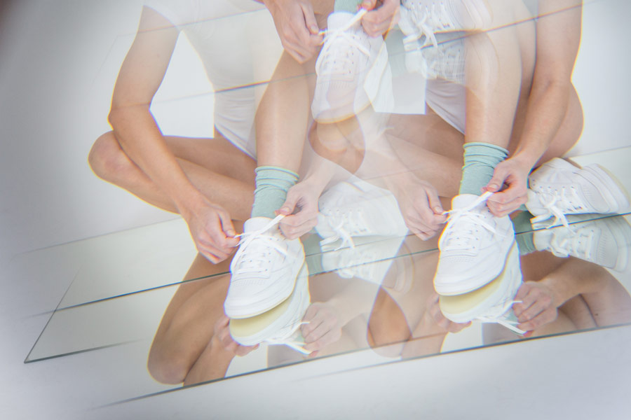Queens x Petra Mácová — lookbook — Reebok Club C 85 Leather (White, White Ice) — dámské boty — bílé tenisky — women's white sneakers