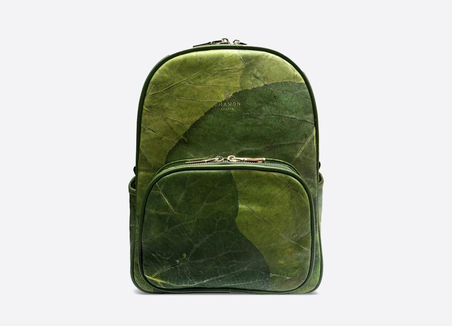 Thamon London — batoh z listů — zelený — veganský — green vegan leaf backpack — fashion