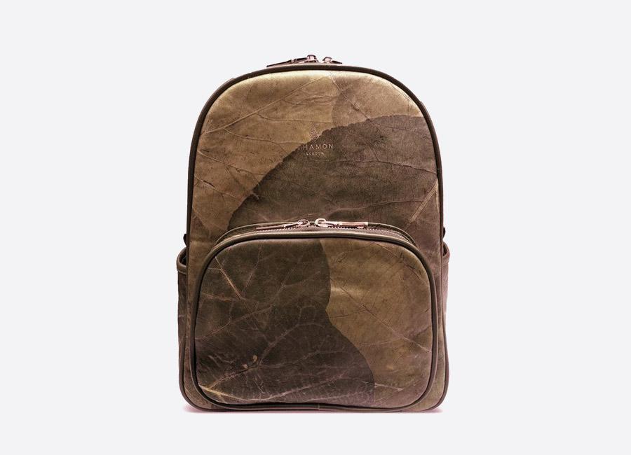 Thamon London — batoh z listů — hnědý — veganský — brown vegan leaf backpack — fashion