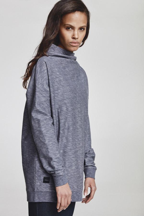 Makia — dámská dlouhá mikina bez kapuce — modrá, melírovaná — jaro 2018 — dámské oblečení
