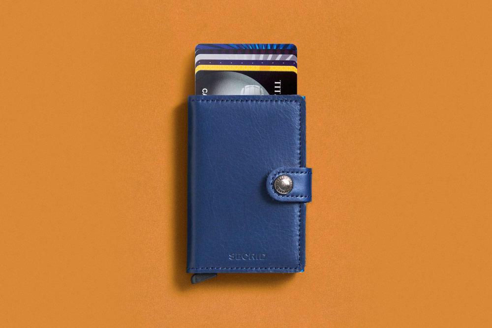 Secrid — bezpečnostní kožená peněženka s ochranou RFID platebních karet — modrá — pánská, dámská — RFID cards safety wallet
