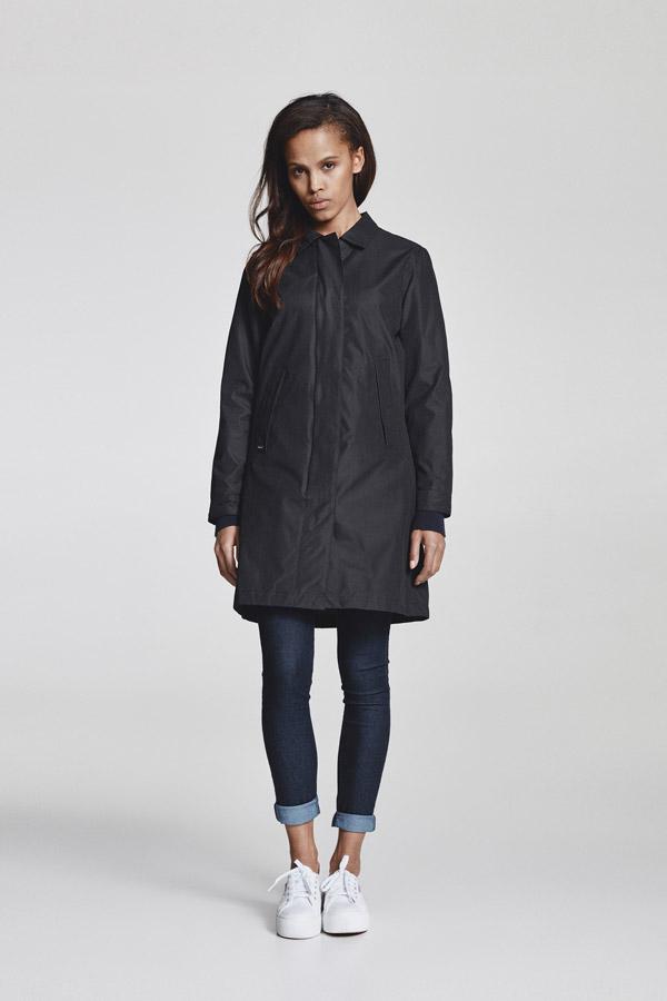Makia — dámská parka bez kapuce — delší jarní bunda — černá — jaro 2018 — dámské oblečení
