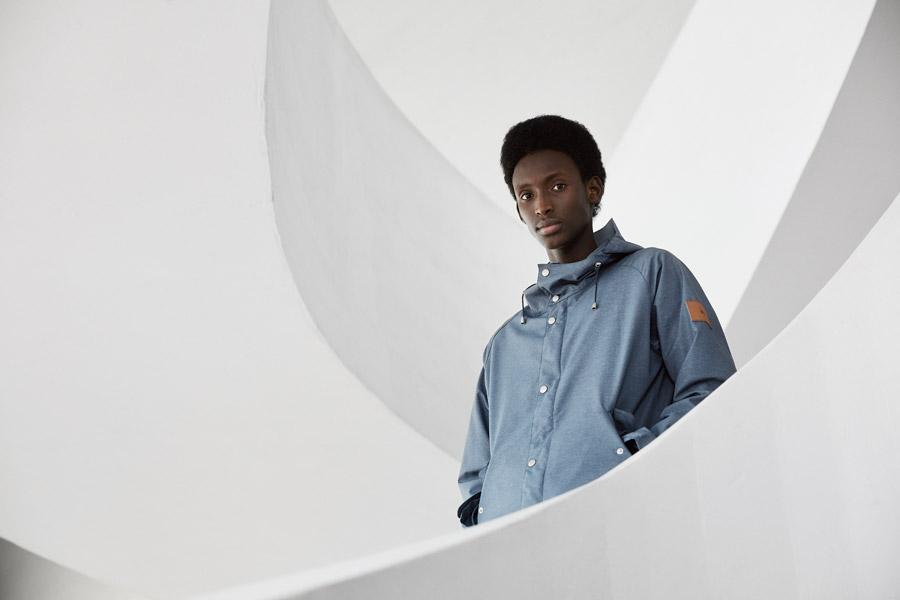 Makia — pánská jarní modrá bunda s kapucí — jaro 2018 — pánské oblečení