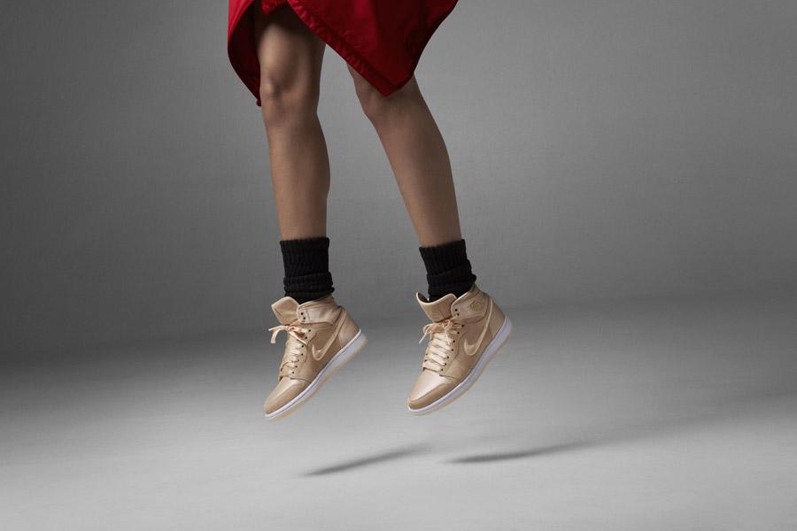 Nike Air Jordan 1 Retro High — kotníkové boty — dámské tenisky — béžové, pískové — women's sneakers — beige, sand