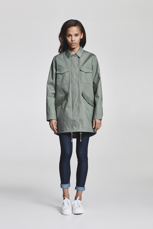 Makia — dámská parka bez kapuce — delší jarní bunda — olivově zelená — jaro 2018 — dámské oblečení