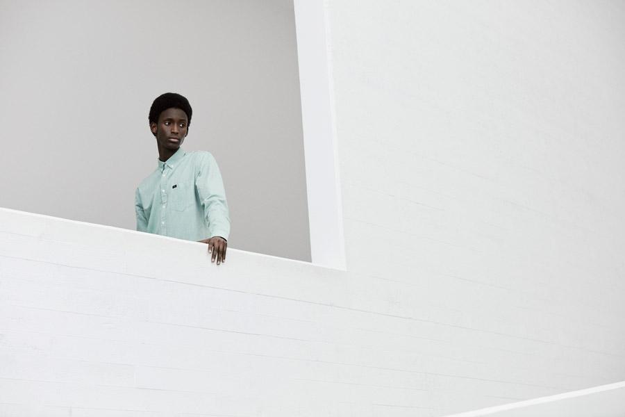 Makia — pánská světlá modro-zelená košile s dlouhým rukávem — jaro 2018 — pánské oblečení