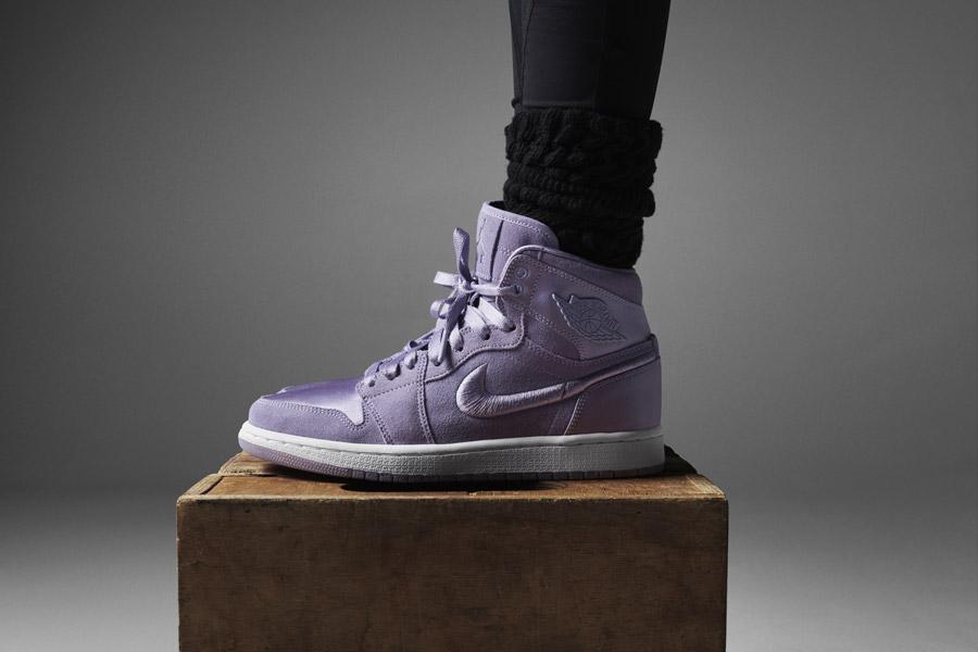 Nike Air Jordan 1 Retro High — dámské kotníkové boty — tenisky — růžové, fialové — women's sneakers — pink, purple