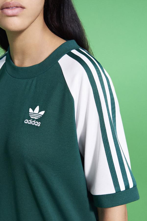 adidas Originals adicolor — dámské sportovní zelené šaty — women's green sports dress — sportovní oblečení — jaro/léto 2018 — spring/summer — sportswear