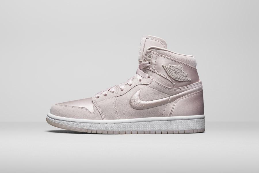 Nike Air Jordan 1 Retro High — kotníkové boty — dámské tenisky — světle růžové, fialové — women's sneakers — light pink, purple