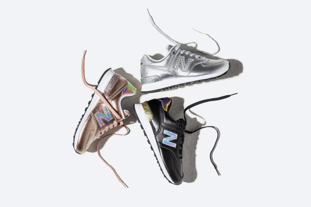 New Balance 574 — dámské tenisky s třpytkami — boty s třpytkami — černé, stříbrné, zlaté — Glitter Pack — women's metallic sneakers — Glitter Pack
