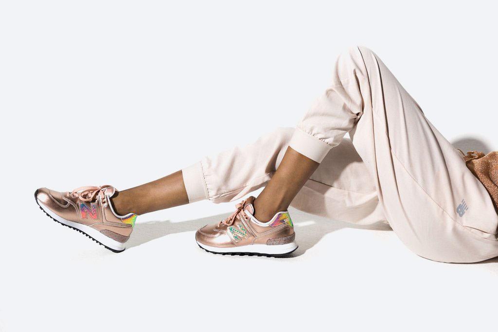 New Balance 574 — dámské metalické tenisky — boty s třpytkami — zlaté, růžové zlato — Glitter Pack — women's gold metallic sneakers — Glitter Pack