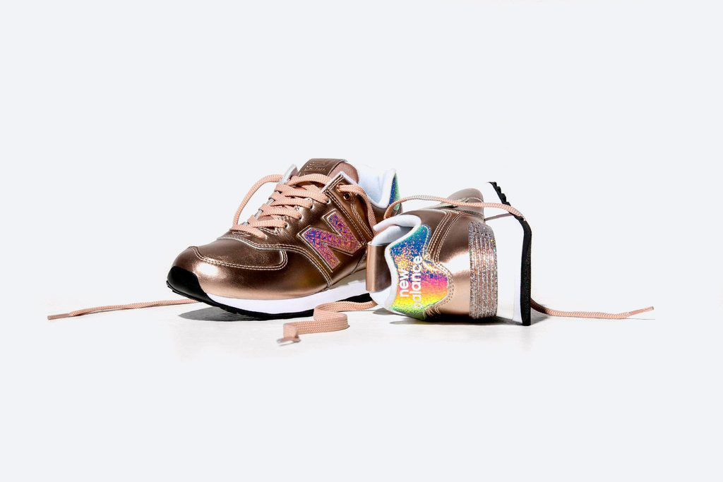 New Balance 574 — dámské metalické boty — tenisky s třpytkami — zlaté, růžové zlato — Glitter Pack — women's gold metallic sneakers — Glitter Pack