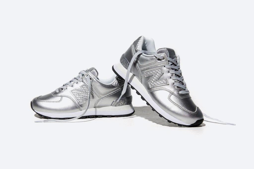 New Balance 574 — dámské metalické tenisky — boty s třpytkami — stříbrné — Glitter Pack — women's silver metallic sneakers — Glitter Pack