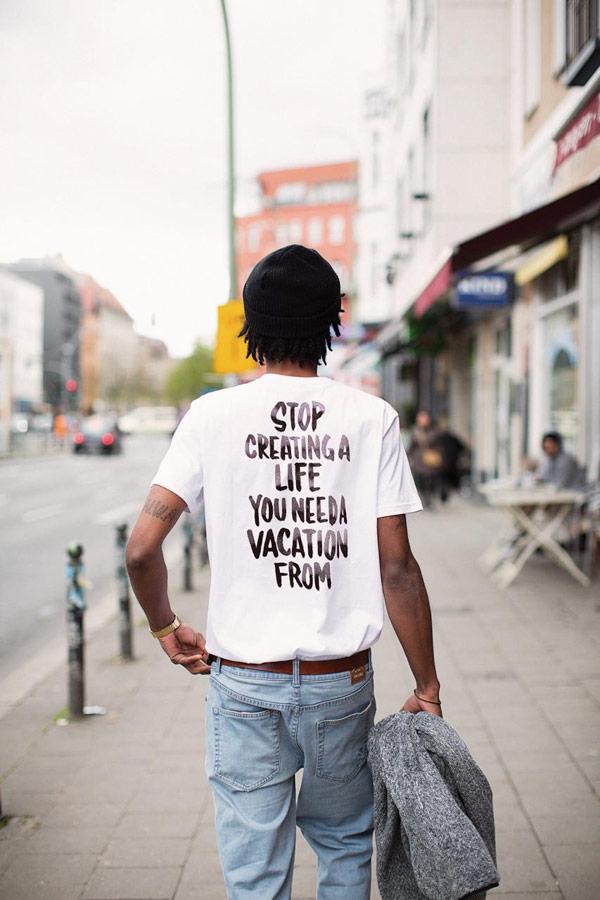 Iriedaily — pánské bílé tričko s potiskem na zádech — lookbook — jaro 2018