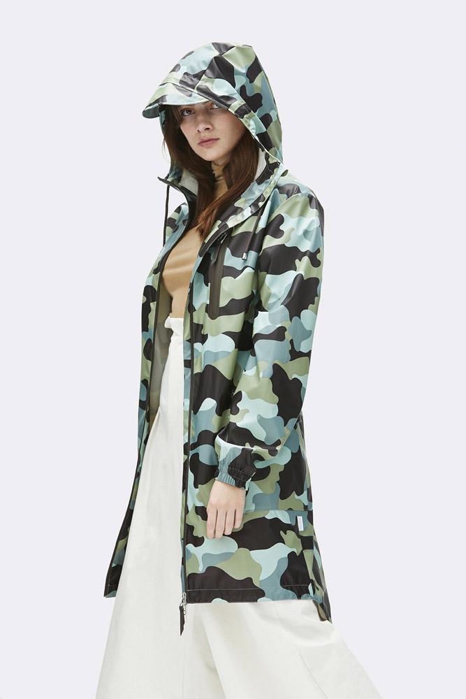 Rains — pršiplášť — maskáčová nepromokavá bunda s kapucí — dlouhá parka — dámská — zelená, modrá — raincoat, rain jacket — jaro/léto 2018