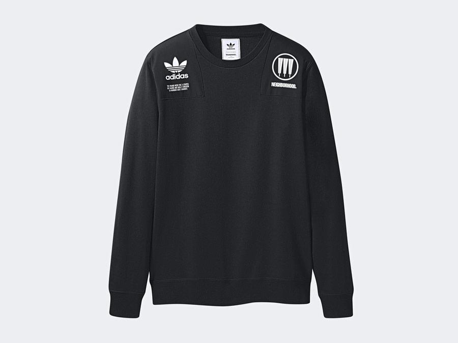 adidas Originals x Neighborhood — Commander — černá mikina bez kapuce s potiskem — pánská, dámská — black sweatshirt