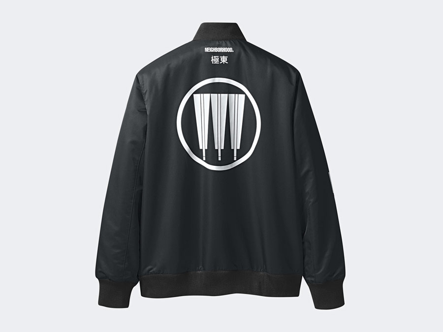 adidas Originals x Neighborhood — Stadium — černá bunda do pasus potiskem bez kapuce — pánská, dámská — black jacket
