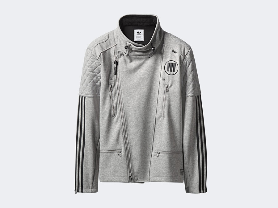 adidas Originals x Neighborhood — Riders — šedá sportovní bunda bez kapuce — pánská, dámská — grey track jacket