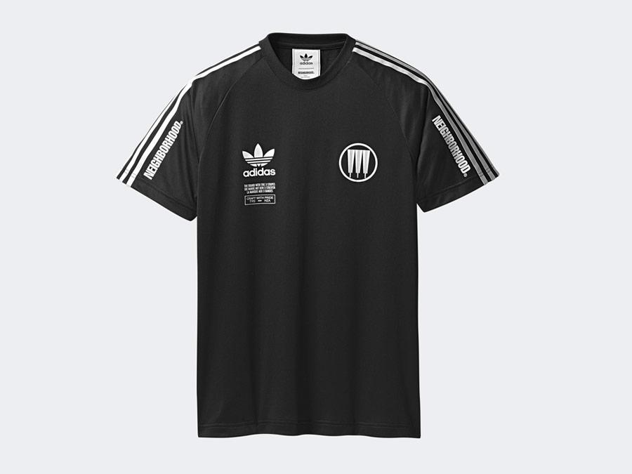 adidas Originals x Neighborhood — Game — černé sportovní tričko s potiskem — pánské, dámské — black T-shirt
