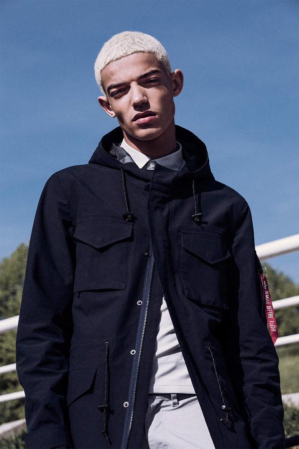 Alpha Industries — kabát s kapucí — pánský — tmavě modrý — hooded coat — jaro/léto 2018