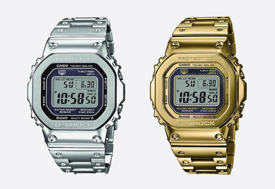 Casio G-shock — GMW-B5000TFG — zlaté hodinky — GMW-B5000D — stříbrné hodinky — digitální, náramkové — pánské, dámské — watches