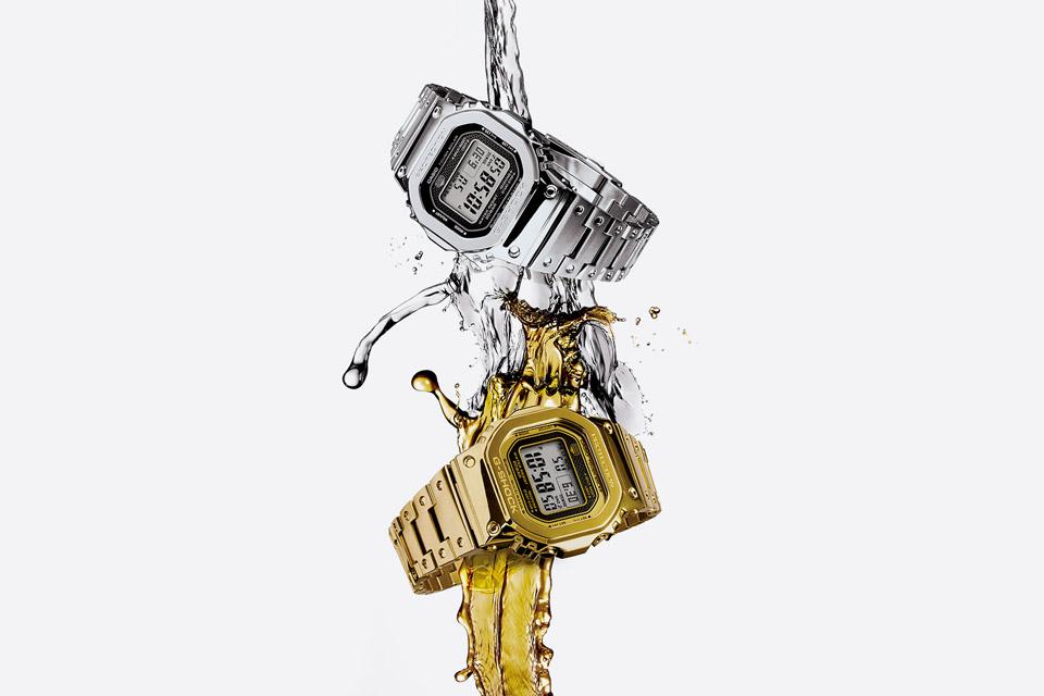 Casio G-shock — GMW-B5000D — stříbrné hodinky — GMW-B5000TFG — zlaté hodinky — digitální, náramkové — pánské, dámské — watches