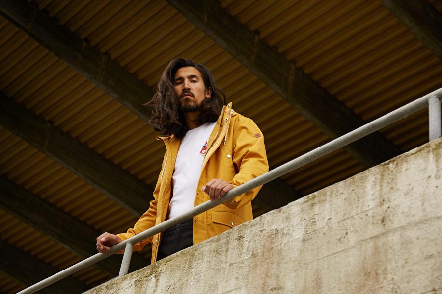 RVLT — jarní bunda s kapucí — žlutá parka — pánská — jarní/letní oblečení — pánská móda — Revolution
