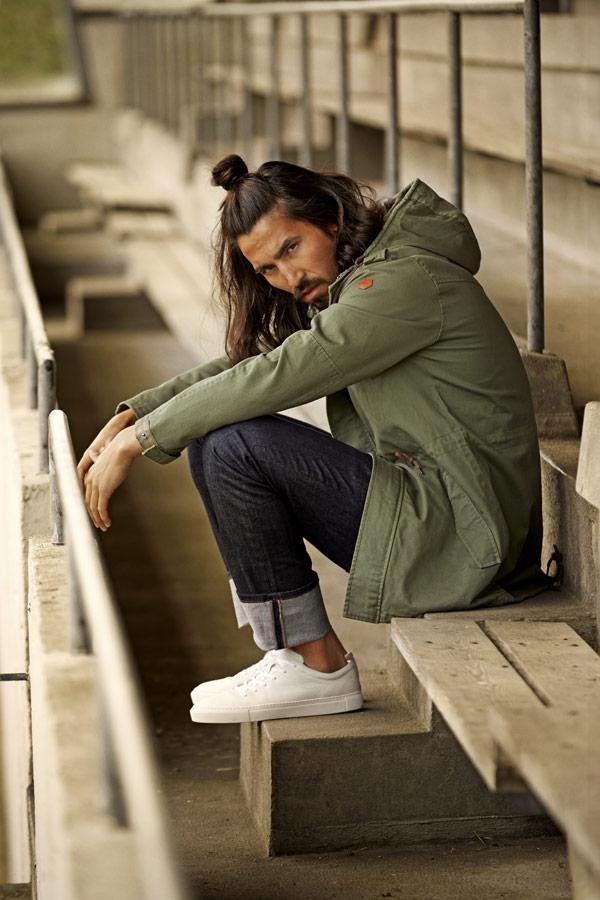 RVLT — jarní bunda s kapucí — olivově zelená parka — pánská — jarní/letní oblečení — pánská móda — Revolution