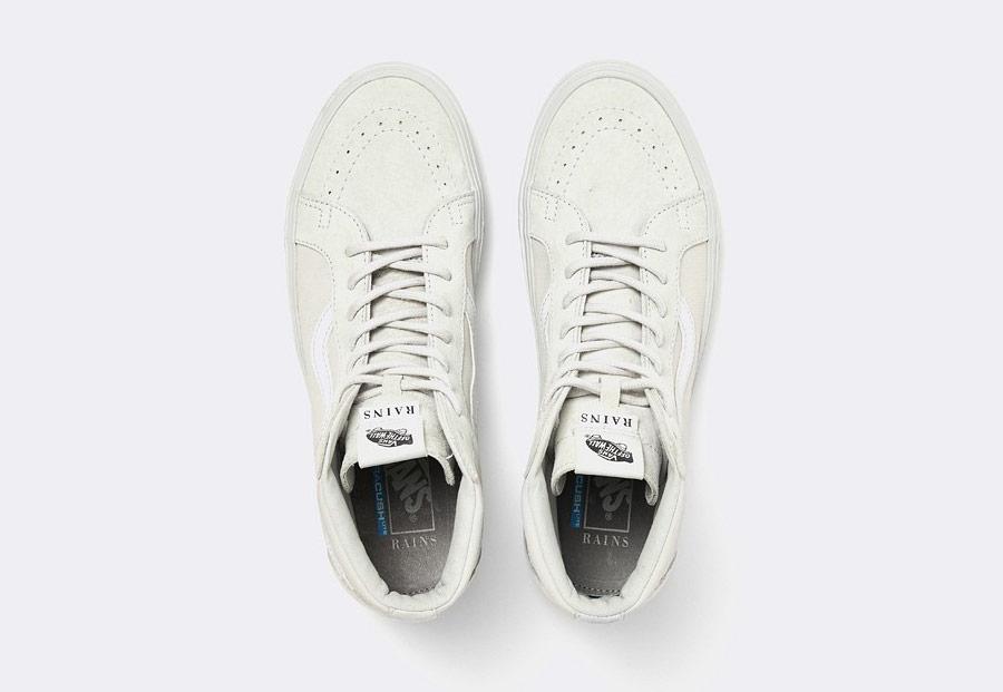 Vans x Rains — Sk8-Hi Lite — kotníkové boty — bílé — pánské — dámské — tenisky — white sneakers, shoes