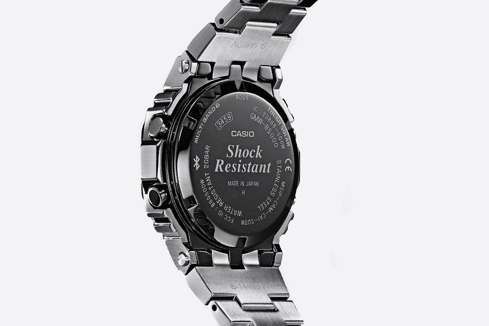 Casio G-shock — stříbrné hodinky — GMW-B5000D — digitální, náramkové — pánské, dámské — zadní pohled