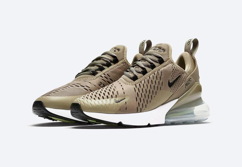 Nike Air Max 270 — boty — tenisky — dámské — Airmaxy — hnědo-zelené, olivově zelené — men's sneakers — brown, olive green
