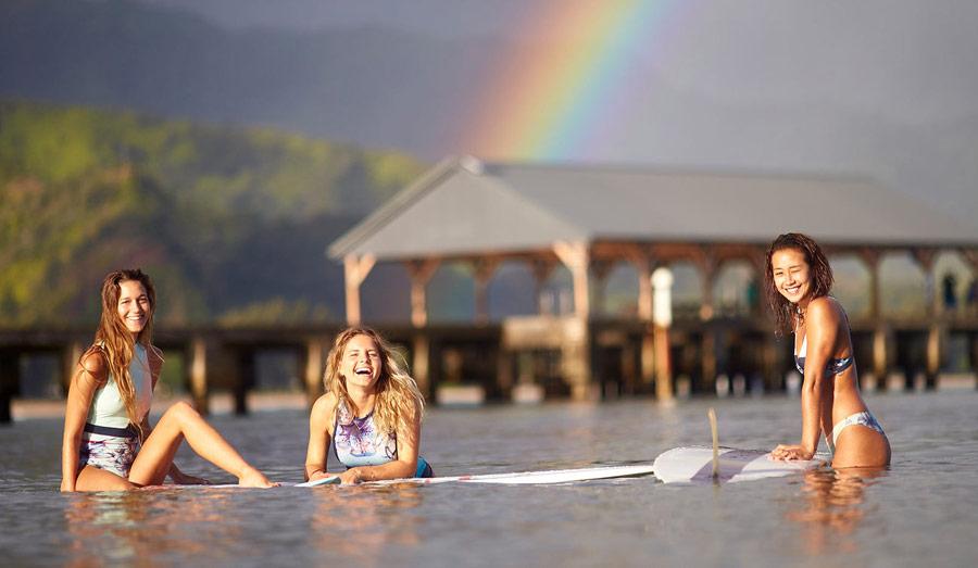 Roxy — Pop Surf — dámské surfařské plavky — modré s květinovými vzory — swimwear