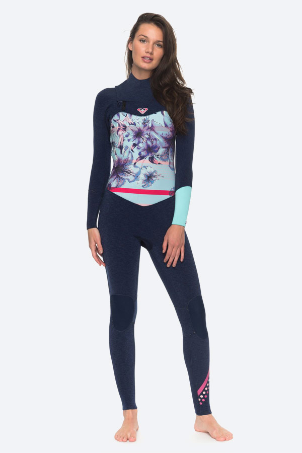 Roxy — Pop Surf — dámská surfařská kombinéza na zip — modrá — chest zip wetsuit — swimwear
