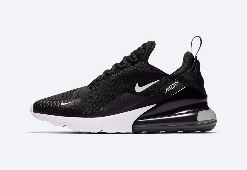 Nike Air Max 270 — tenisky — boty — pánské — Airmaxy — černé, bílá podrážka — men's sneakers — black, white midsole