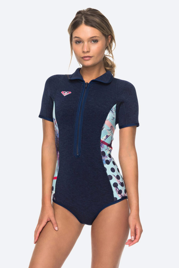 Roxy — Pop Surf — dámská surfařská kombinéza s dlouhým rukávem — modrá — modré jednodílné plavky — springsuit — swimwear