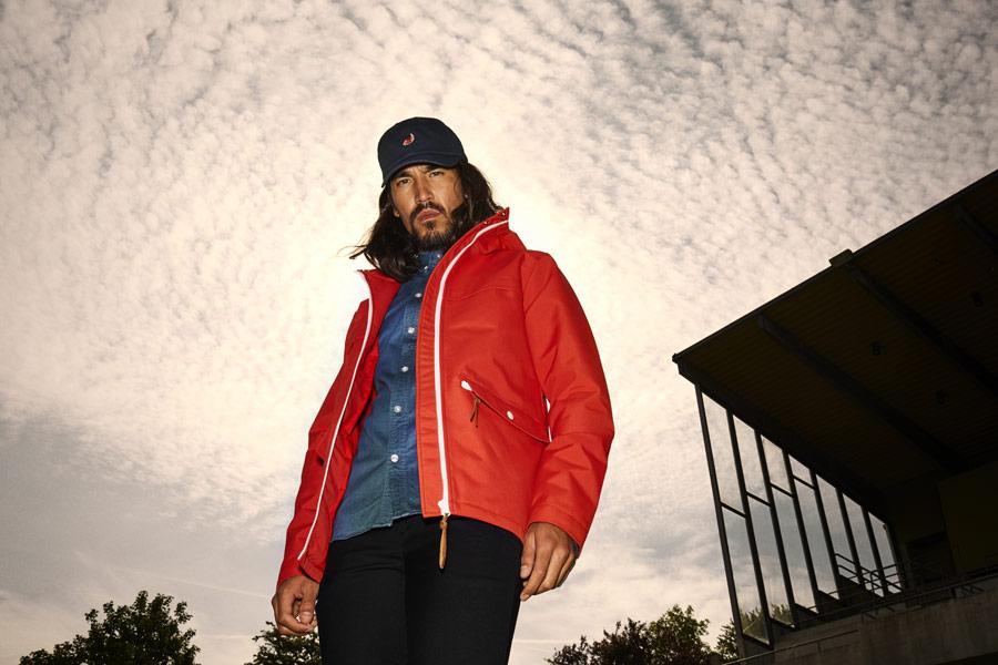 RVLT — jarní bunda s kapucí — červená — pánská — jarní/letní oblečení — pánská móda — Revolution