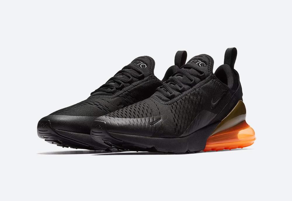 Nike Air Max 270 — tenisky — boty — pánské — Airmaxy — černé, oranžová pata — men's sneakers — black, orange midsole
