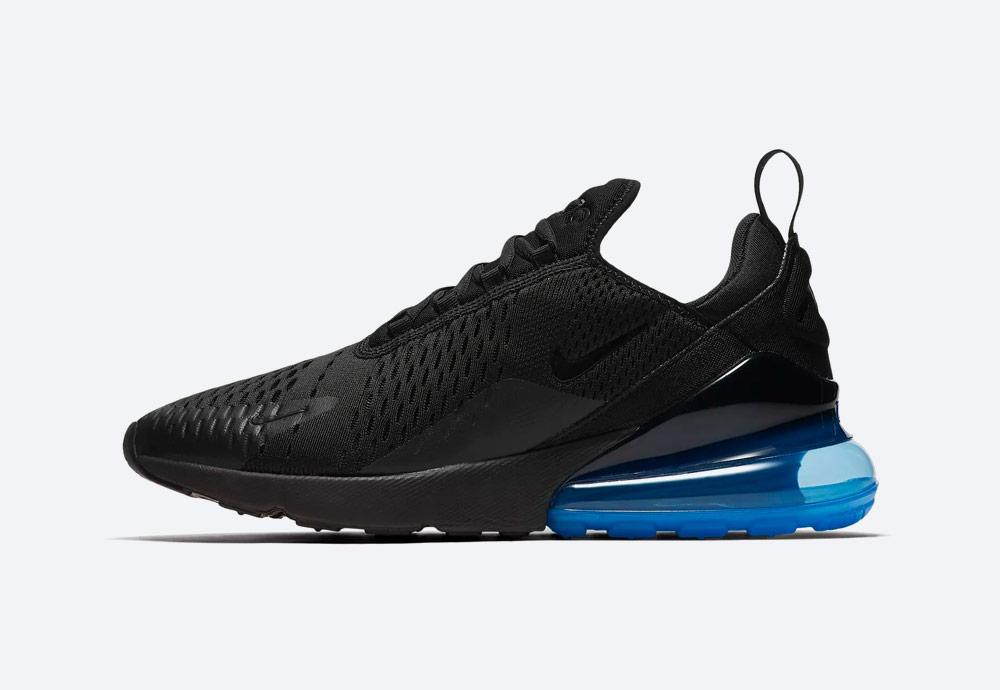 Nike Air Max 270 — tenisky — boty — pánské — Airmaxy — černé, modrá pata — men's sneakers — black, blue midsole