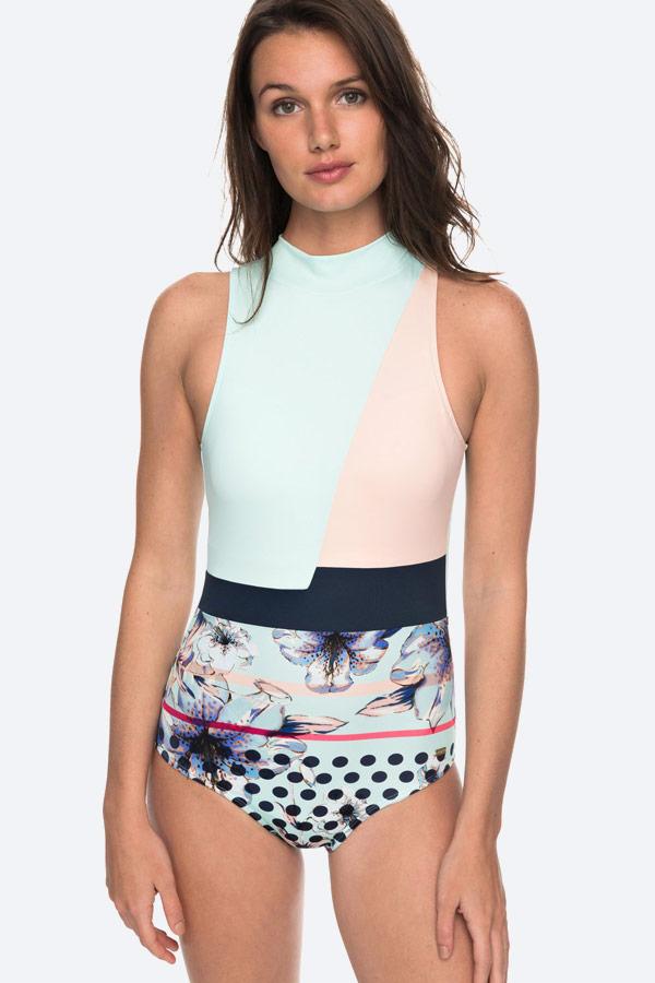 Roxy — Pop Surf — modré jednodílné plavky s květinovým vzorem — swimwear