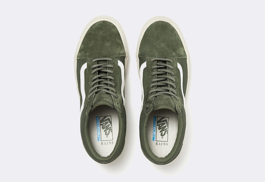 Vans x Rains — Old Skool Lite — tenisky — olivově zelené — pánské — dámské — boty — green olive sneakers, shoes