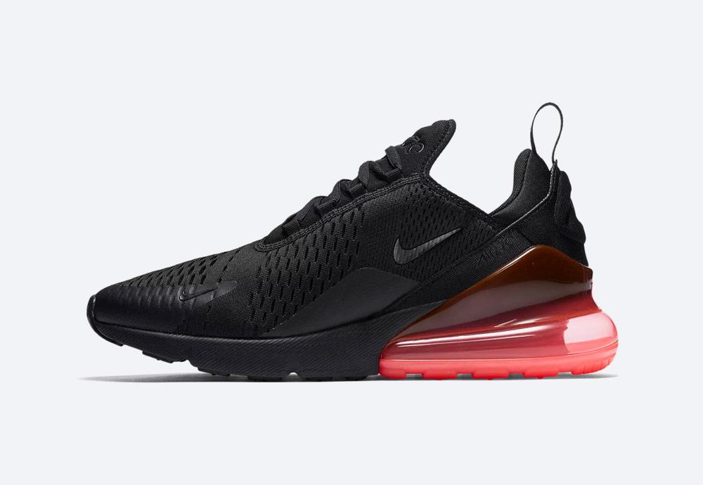 Nike Air Max 270 — tenisky — boty — pánské — Airmaxy — černé, červená pata — men's sneakers — black, red midsole