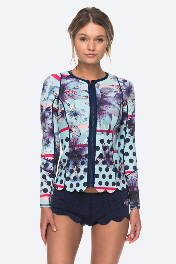 Roxy — Pop Surf — dámská surfařská neoprenová bunda na zip — modré neoprenové šortky — swimwear