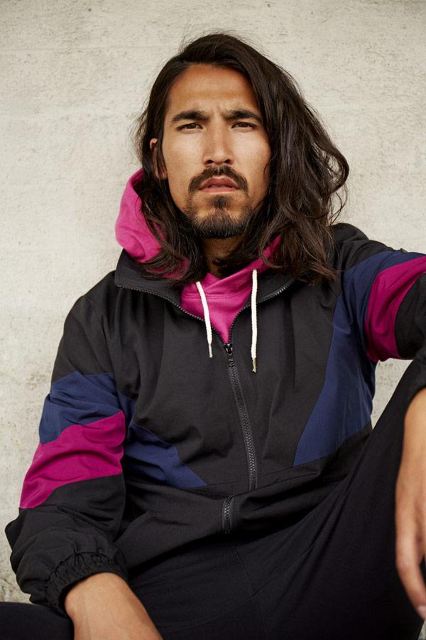 RVLT — černá sportovní bunda s kapucí — — jarní/letní oblečení — pánská móda — Revolution