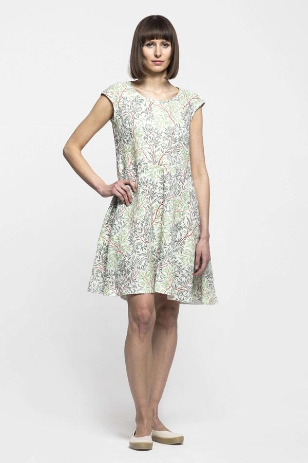 K.BANA — dámské letní šaty nad kolena — lněné — zeleno-bílé — se vzorem, koruny stromů