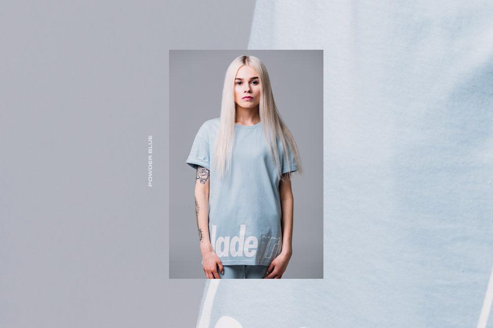Elade Grl — dámské modré tričko — pastelové — streetwear fashion