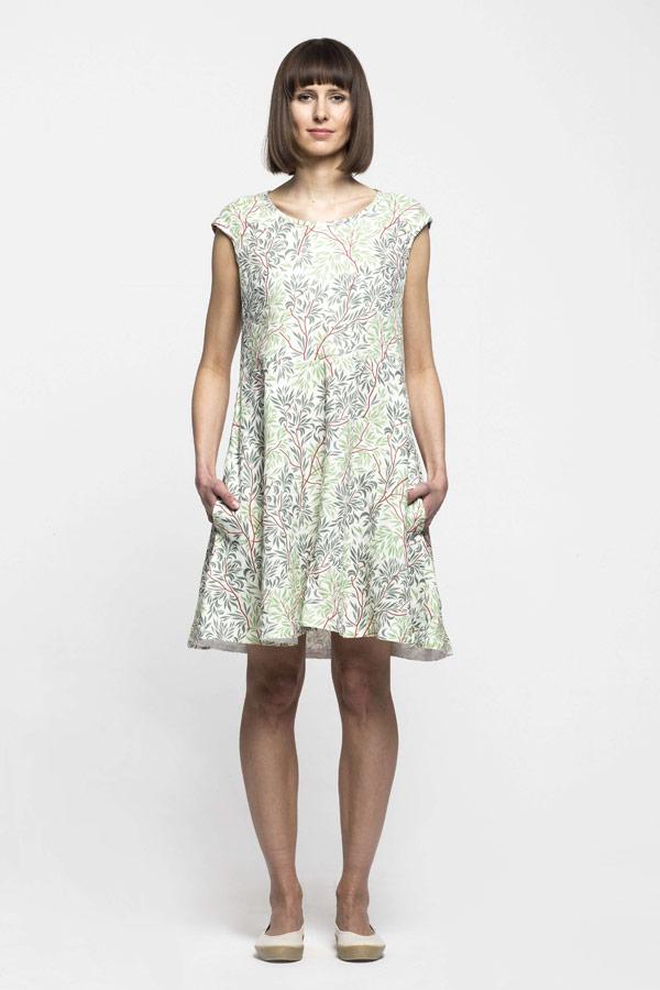 49a9bfc0fee ... K.BANA — dámské letní šaty nad kolena ze lnu — zeleno-bílé —