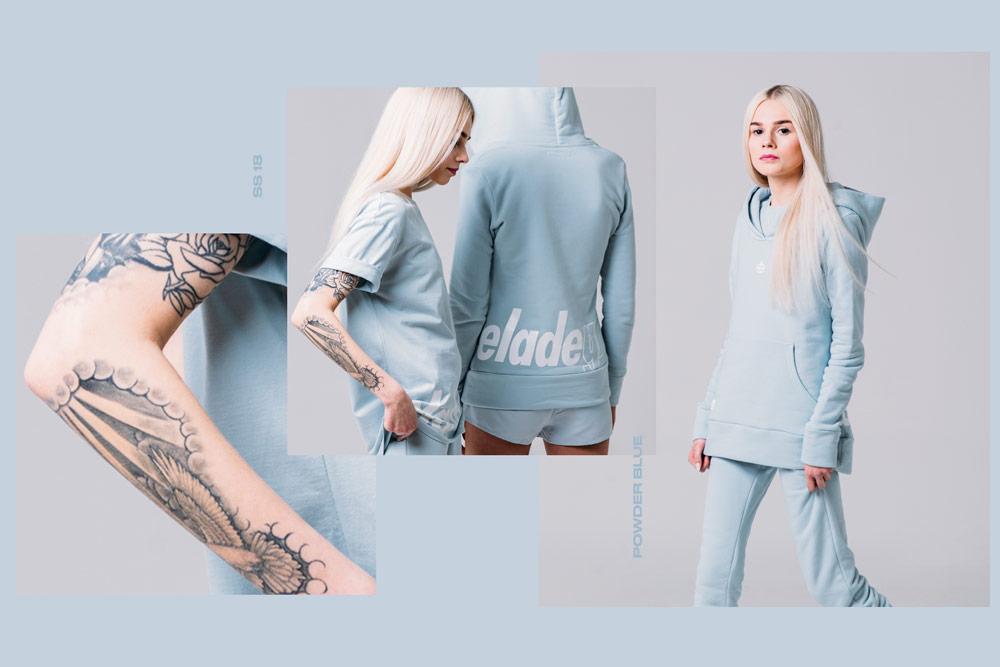 Elade Grl — dámské modré tričko — dámská modrá mikina s kapucí — streetwear fashion