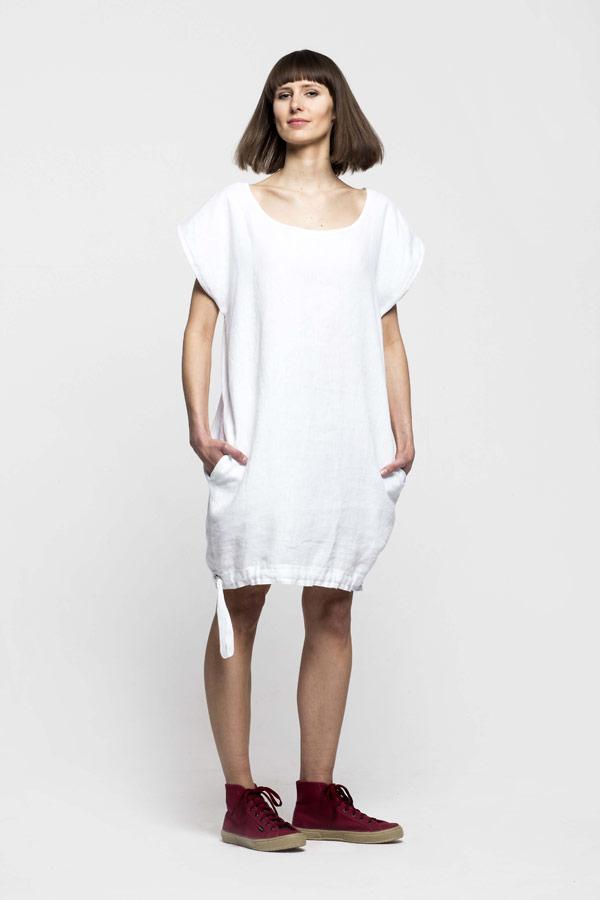 K.BANA — dámské letní šaty nad kolena ze lnu — bílé
